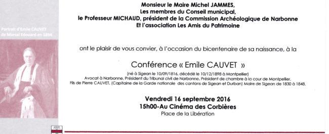 Conférence Emile Cauvet 2016